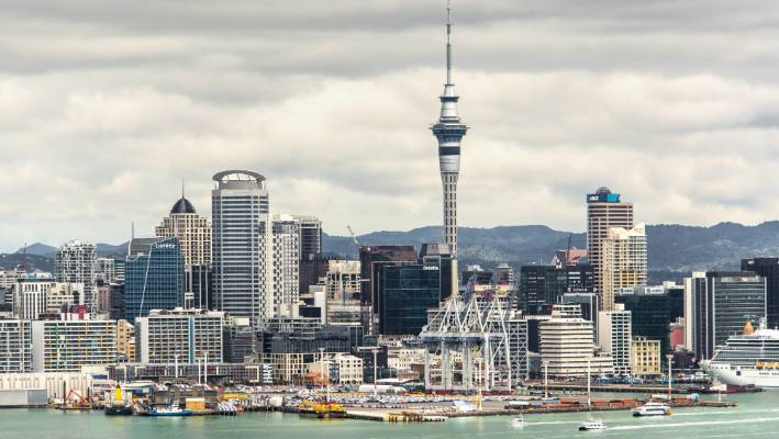 """After wet weather spells Sky Tower's concrete shaft looks like a """"big water stain"""", Vernon Tava said."""