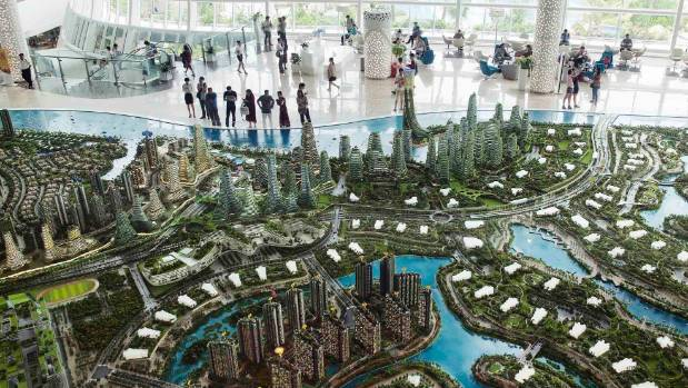 Project model on display at the Country Garden Forest City Sales Gallery in Johor Malaysia.