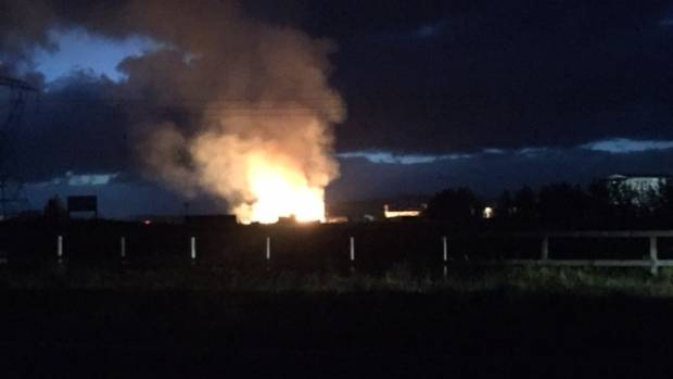 Flames from the pellet processing plant could be seen across Taupo.