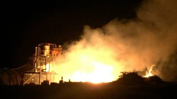 It took 14 fire crews of 56 firefighters to contain the blaze at New Zealand Timber Packaging.