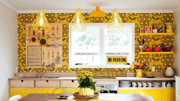 Yellow Orla Kiely Designed Wallpaper Adds Pattern And Interest To This  Sunny Kitchen. SALLY TAGG/NZ ...
