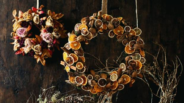 These wreaths might take an extra bit of work to get done, but it would no doubt be worth it. Dried flowers and fruit ...