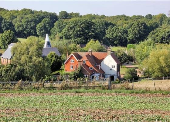 The picturesque property, on 38.9ha, includes arable farmland.