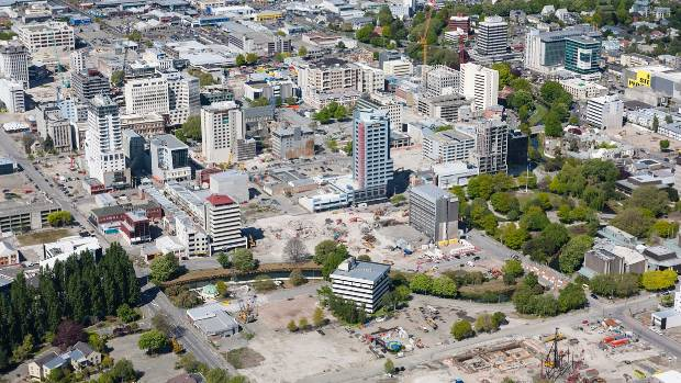 Canterbury Earthquake Recovery Authority (CERA) Aerial photo showing the CBD of Christchurch with the  latest ...