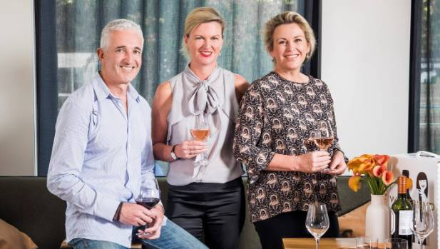 WineFriend investors Rob Fyfe, left, Sarah Wickens, middle, and Catherine de Groot are investing in the online wine ...