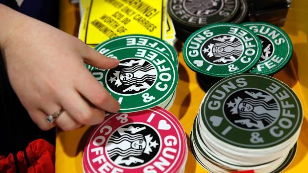 A gun rights sticker plays off the Starbucks logo.
