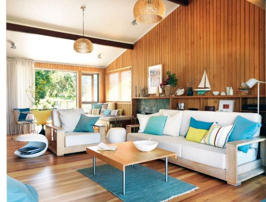 The living area runs the width of the house with a sheltered deck and garden at the back; Hamish and Fiona Cameron chose ...