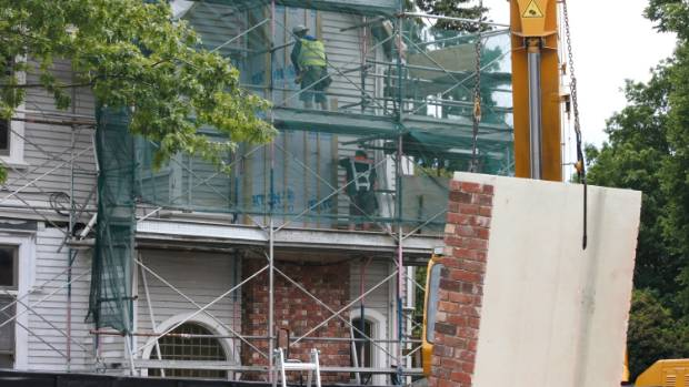 The new fibreglass chimney is installed at Strowan House.