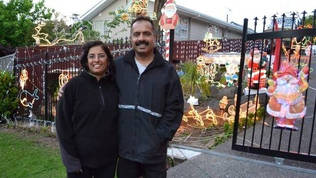 Amy, left, and Barney Singh have been decorating their west Auckland home for more 20 years.