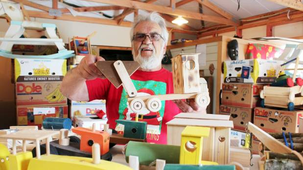 Svend Fanefjord makes wooden toys at his 'Santa's workshop' in Coatesville.