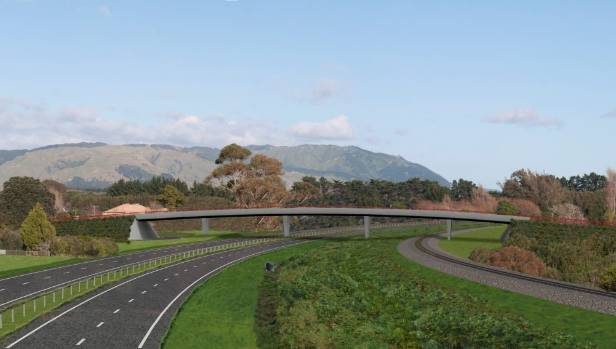 An artist impression of the Rahui Rd overbridge, which has been proposed as part of the Peka Peka to Otaki  expressway.