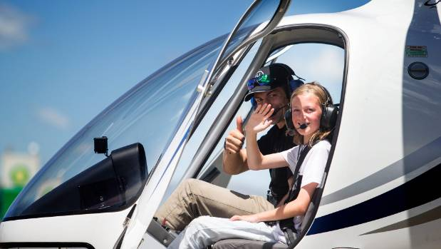 Richie McCaw of Christchurch Helicopters, took 11-year-old Stevie Dineen on a special flight, after the earthquake put a ...