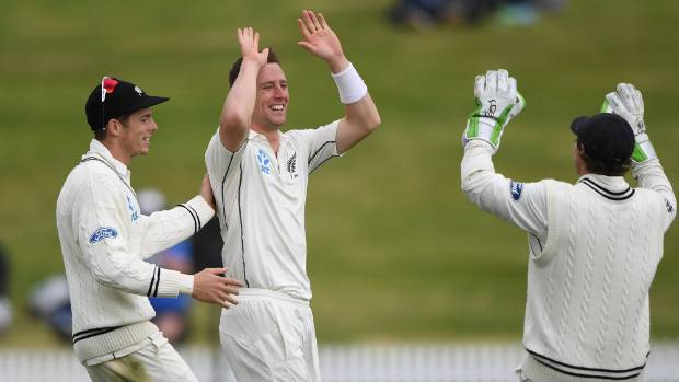 Matt Henry and the Black Caps celebrate during a stunning afternoon at Seddon Park, as New Zealand beat Pakistan in the ...