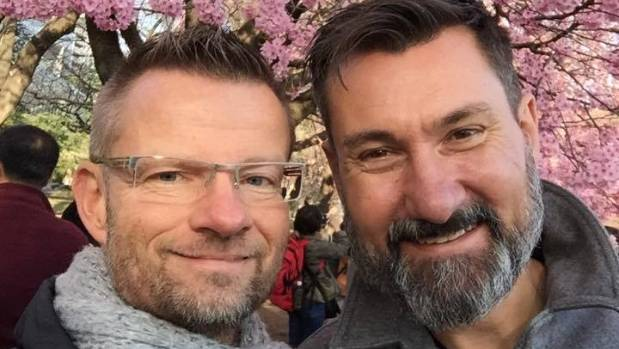Aucklander Ashley Barratt, shown right, now lives in Germany with his partner Christian.