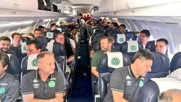 The Chapecoense club from southern Brazil reportedly posted this photo of its first division team boarding the charter ...