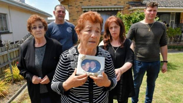 Michael Di Berardino's widow Gemma with relatives on Tuesday.