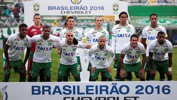 Players of the Chapecoense soccer team before their Brazilian Series A Championship match in May.