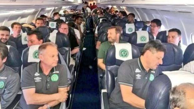Players and managers from Chapecoense on board a flight, believed to be the one that crashed.