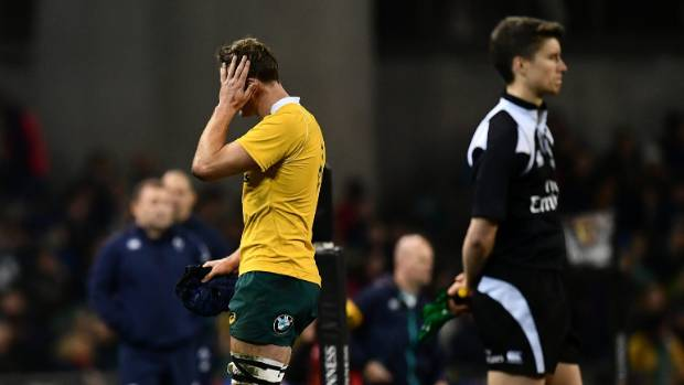 Dean Mumm leaves Aviva Stadium  after being yellow carded for a dangerous tackle on Irish prop Tadgh Furlong