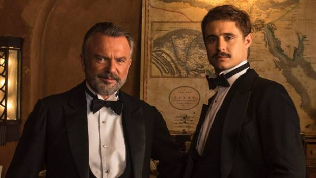 Max Irons as Carter and Sam Neill as Lord Carnarvon in Tutankhamun.