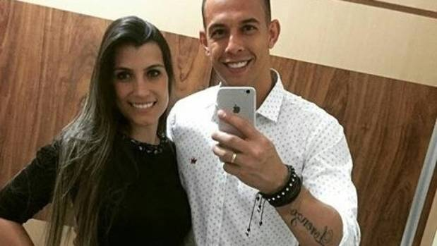 """My love"" Chapecoense goalkeeper Danilo Padilha posted this Instagam shot with his wife Leticia weeks before the plane ..."