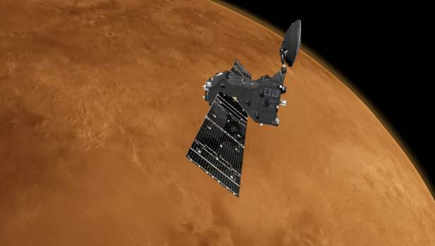 An artist's impression of the trace gas orbiter at Mars.