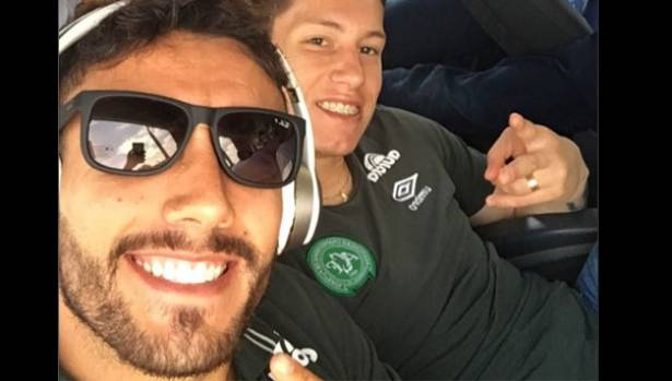 Footballers Jackson Follmann, right, and Alan Ruschel both survived the crash.