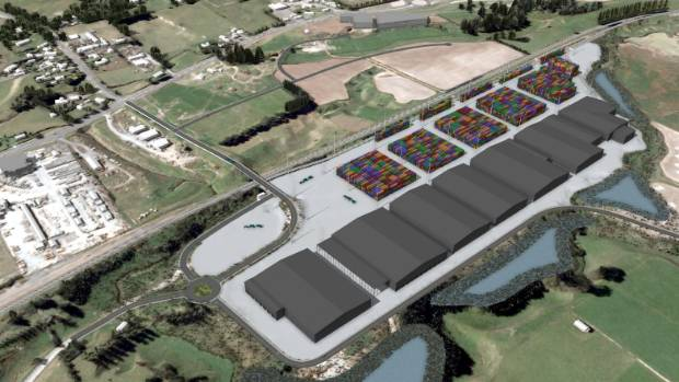 Ports of Auckland has a Horotiu inland freight hub planned. This rendered image shows how it will look when complete.