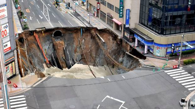 The sinkhole was 15m deep and 30m wide.