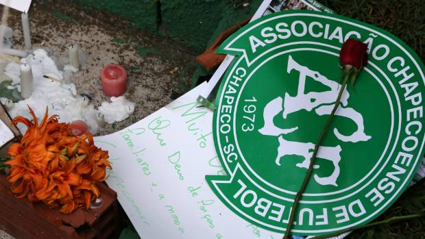 Flowers and messages have been left in front of the Arena Conda stadium in triubute to the team.