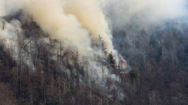 Smoke plumes from wildfires are shown in the Great Smokey Mountains.