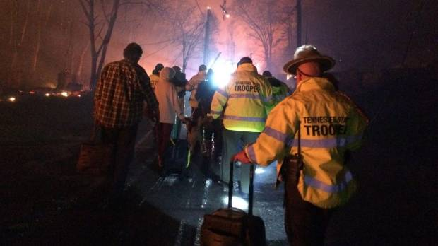 Residents evacuate an area under threat of wildfire in Gatlinburg, Tennessee.