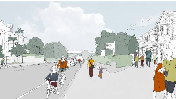 An artist's impression of the lower end of Gladstone Rd after Parnell's cycleway is built.