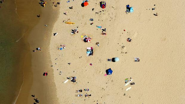 People sunbathe on Nobbys Beach in Newcastle.