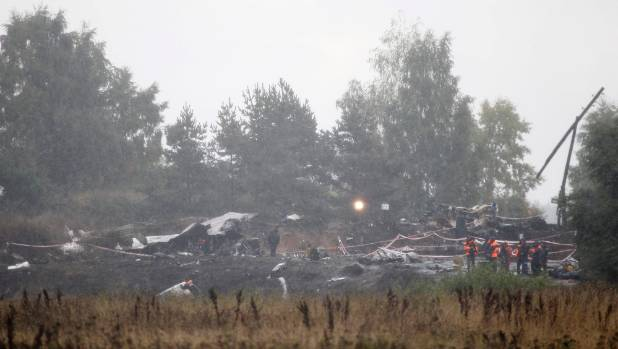 Investigators examine wreckage of the plane that crashed killing Russia's Lokomotiv Yaroslavl ice hockey team died in a ...