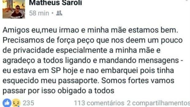 Matheus Saroli's Facebook post.