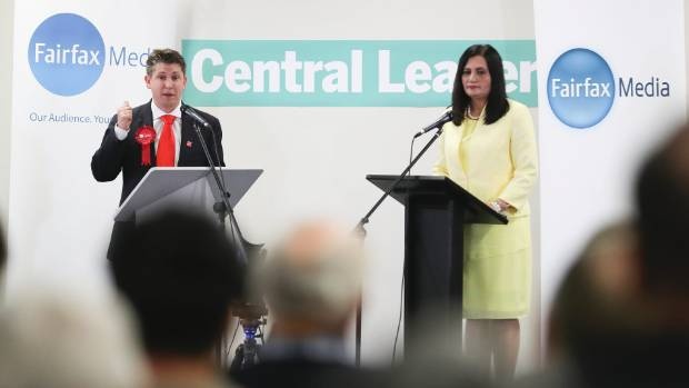 Labour's Michael Wood and National's Parmjeet Parmar at a Mt Roskill by election candidates debate last month.