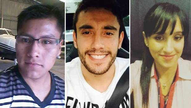 Three of the survivors: (L-R) Bolivian flight technician Erwin Tumiri, Brazilian footballer Alan Ruschel and flight ...