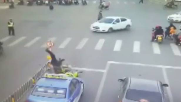 The elderly man was flung into the air when the scooter hit him.