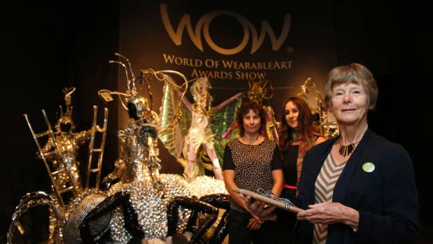 Scottish woman Margaret Allen(front), is the 20,000 visitor to the World of Wearable Art & Classic Cars Museum. She is ...