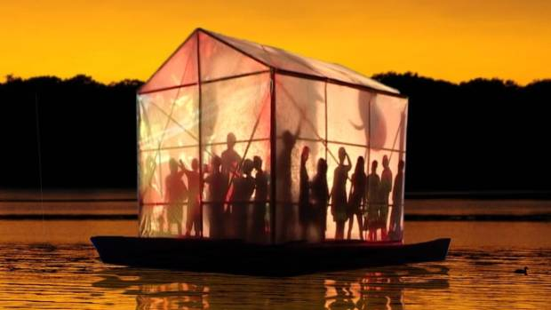 The Floating Theatre is an ingeniously-designed stage that features projected, reflected and dynamic imagery inside and out.