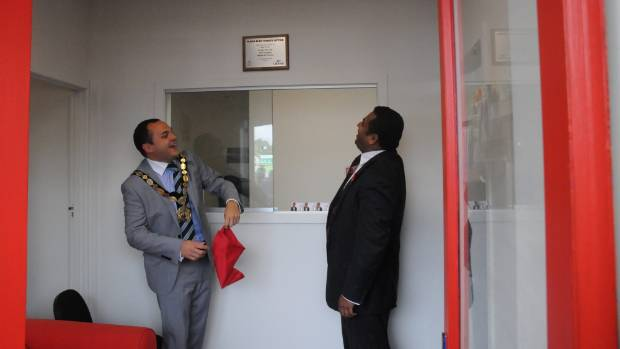 Then Porirua mayor Nick Leggett declares Mana Labour MP Kris Faafoi's new electorate office open in 2012.