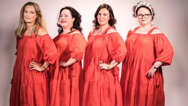 "Fairfax staffers Melissa Williams-King, June-Ann Russell, Niamh Swords and Caron Copek model ""the dress."""