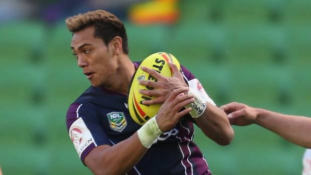 Denny Solomona in action for Melbourne Storm's under-20s in 2013.