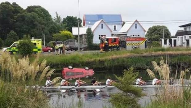 A red van flipped and landed in the Avon River in Christchurch on Wednesday afternoon.