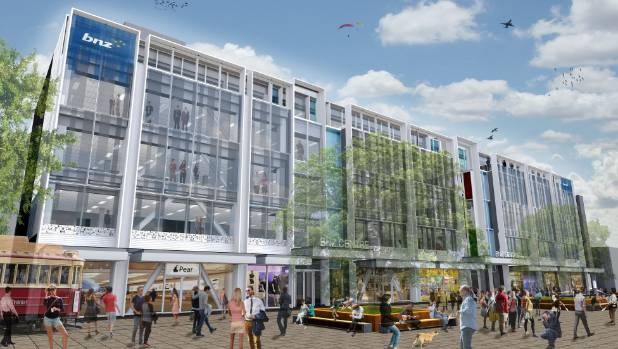 An artist's impression of finished BNZ Centre in Christchurch retail precinct.