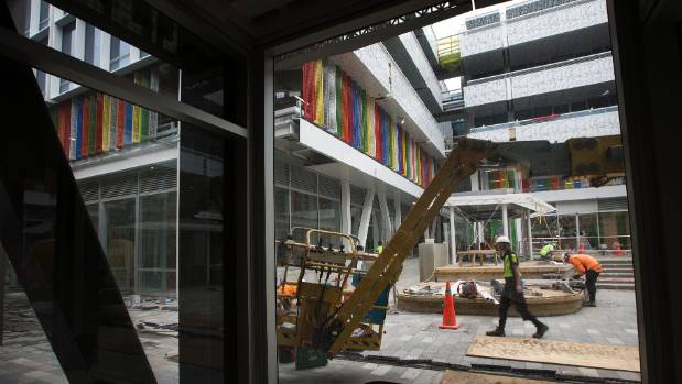 Final touches go into the courtyard in the BNZ Centre.