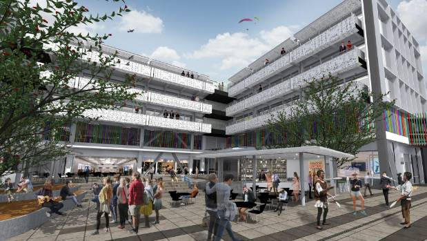 An artist's impression of the finished public courtyard.