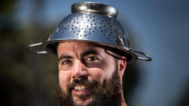 Marcus Bowring's religious headgear also doubles up as an actual tool to make his favourite pasta – spaghetti bolognese.