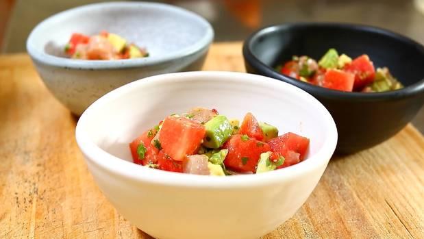 Ginny Grant's watermelon, kingfish and avocado salad.